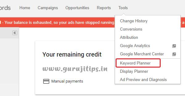 Adword Keyword Planner