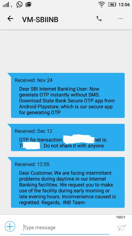 otp sample message