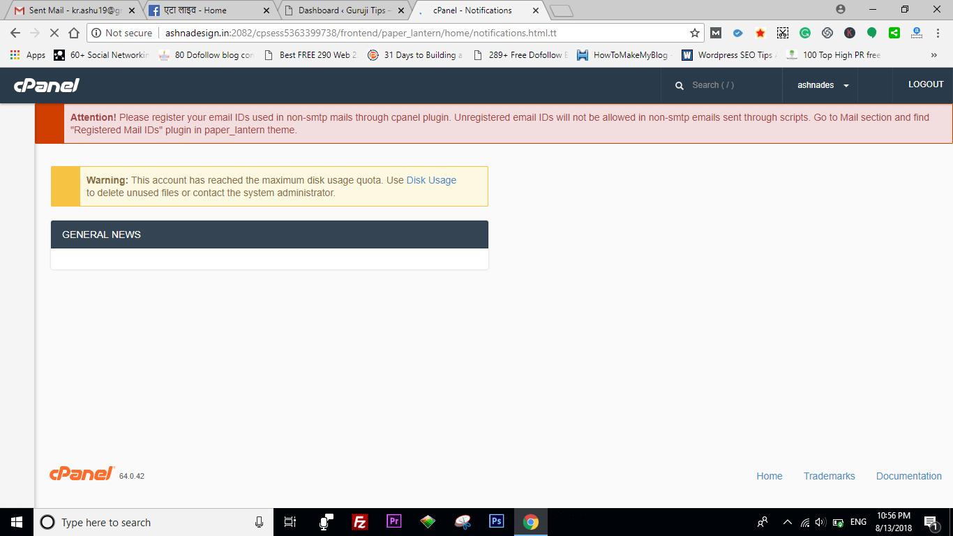 disk usage error