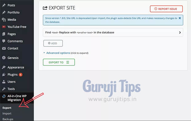 export wp file