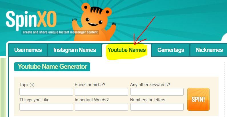 youtube name generator tool